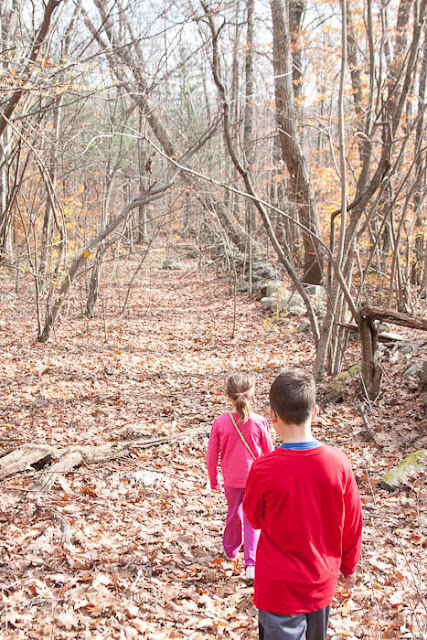 kids walking in woods