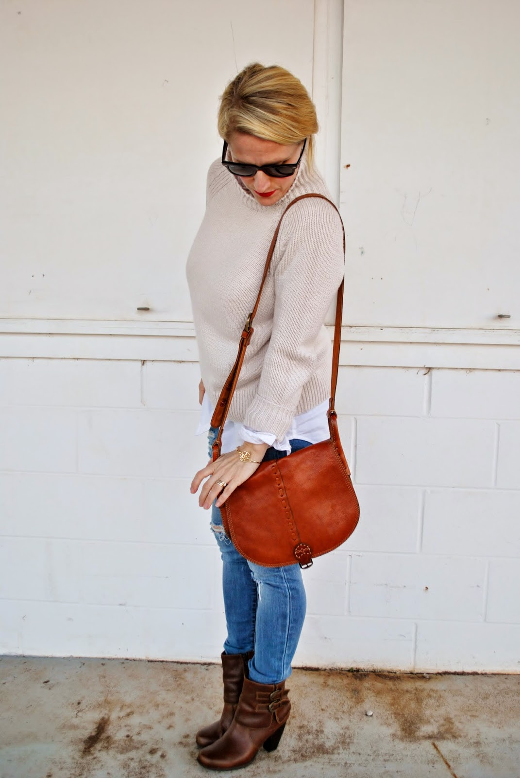 Cognac Boots, Topshop Destroyed Skinny Jeans, Madewell Skinny Jeans