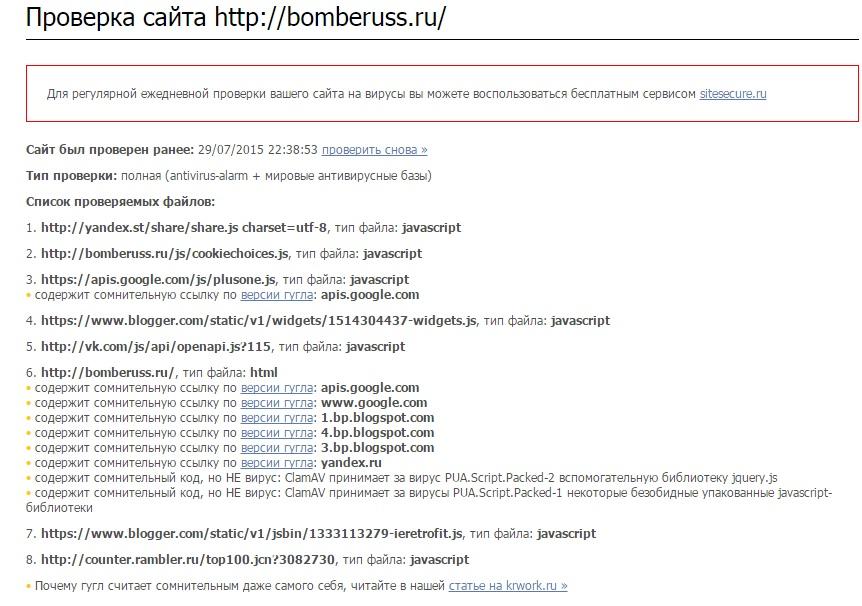 проверка блога на вирусы