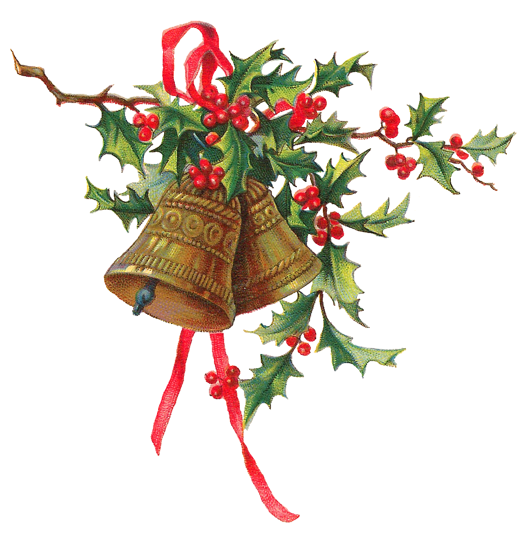Antique images christmas holly gold bells printable clip art for Holl image
