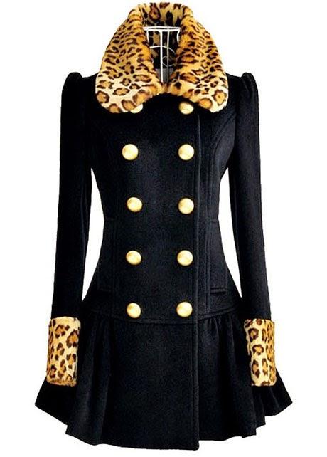 Abrigo de Lana con Cuello y Puños de Piel de Leopardo