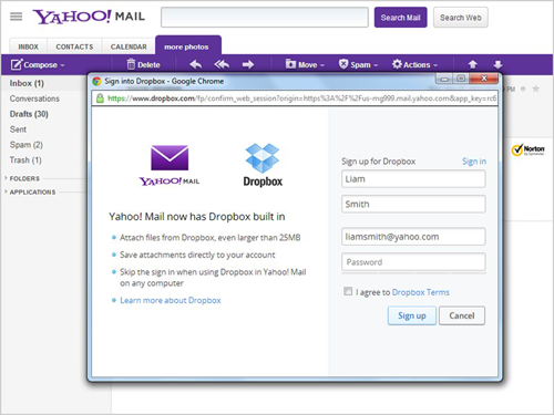 Dropbox Yahoo! Mail