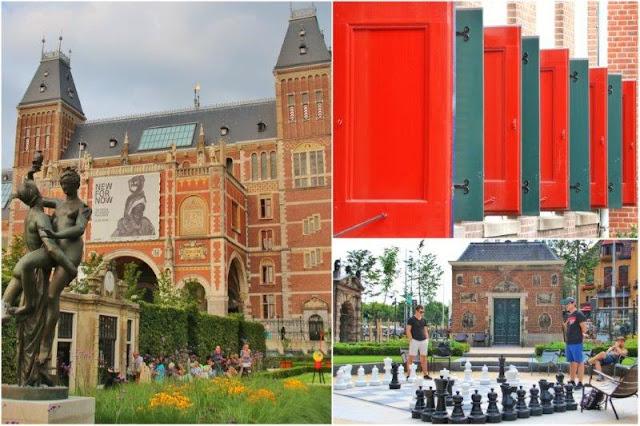 Escultura frente a fachada del Rijksmuseum, Escultura de Joan Miro Personaje en los jardines del Rijksmuseum en Amsterdam – Contraventanas – Ajedrez gigante en los jardines del Rijksmuseum