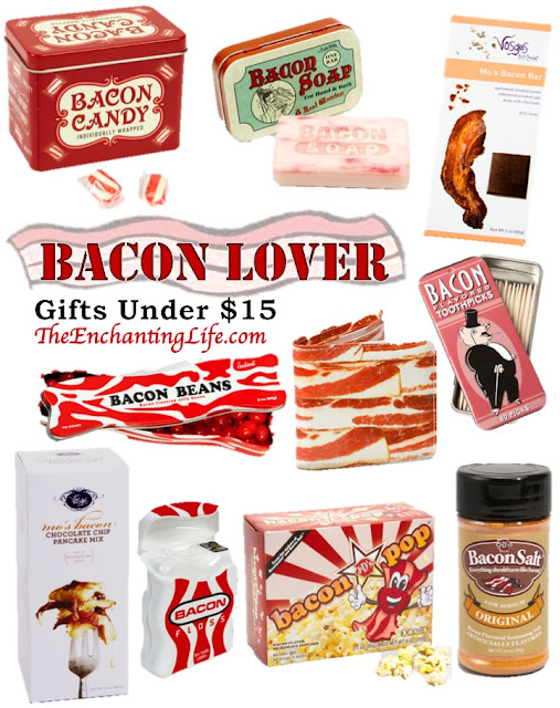 Affordable Men's Gifts: Bacon Gifts under $15 on TheEnchantingLife.com