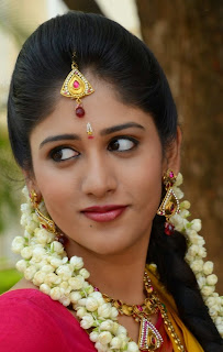 Chandini Chowdary looks ultimate Beautiful in Saree and Choli at Kundanapu Bomma movie Logo Launch