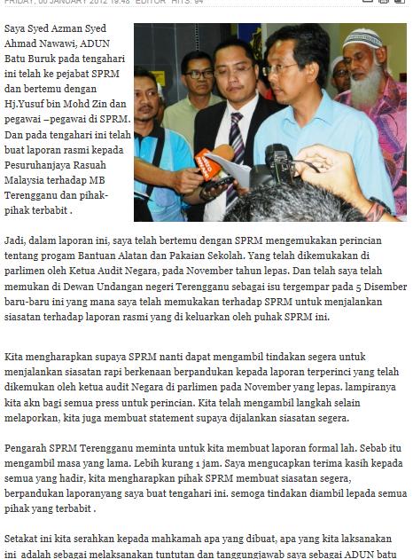 teganuku  Laporan Kepada SPRM - Kenyataan Penuh Syed Azman 46bfc29963