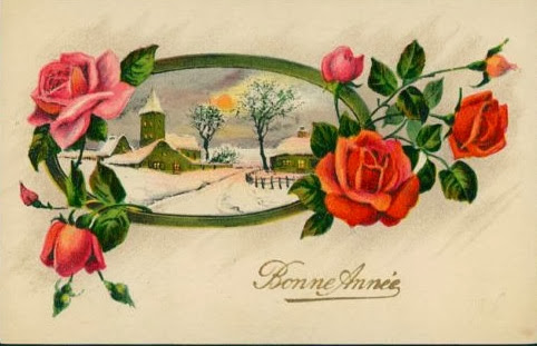 vintage botanical graphics 1920s French Birthday card – Birthday Greetings French
