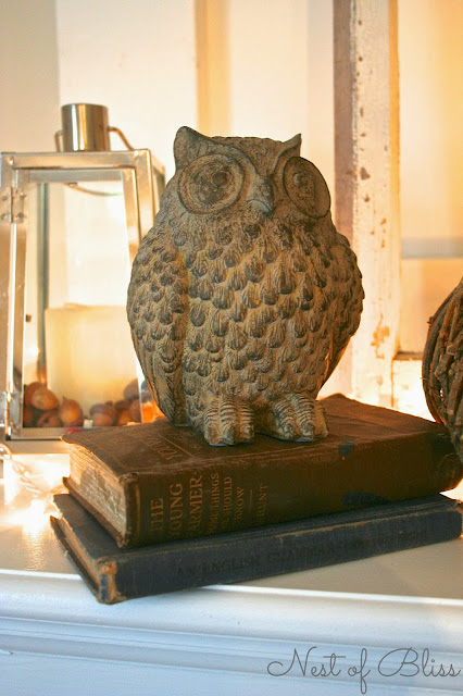 Wicker Emporium Stone Owl - Fall / Autumn Fireplace Mantel - Nest of Bliss