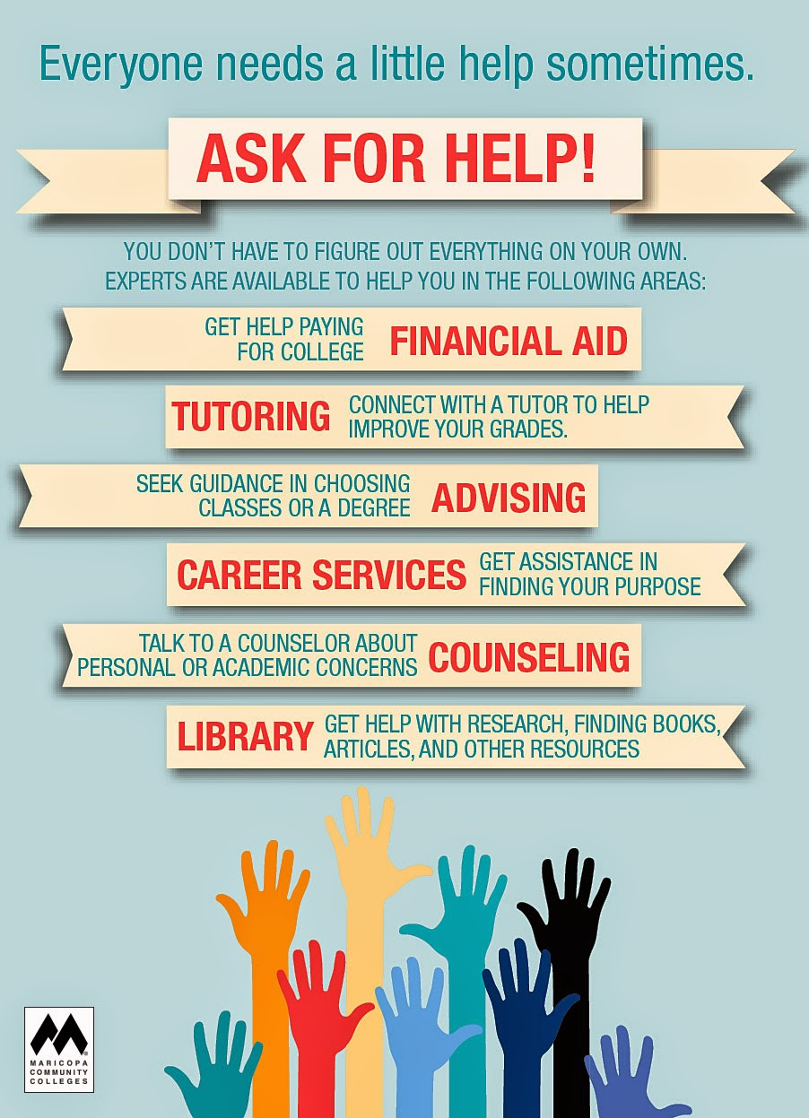 Poster for Student Success Tips: Everyone needs a little help sometimes.  Ask for Help.  You don't have to figure out everything on your own.  Experts are available to help you in the following areas: Financial Aid to help pay for college, Tutoring to help you improve your grades, Career Services to help you find your purpose, Counseling to help you with personal and academic concerns and our Library, which can help you research, find books, articles and other resources.