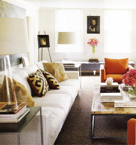 Orange and White Modern Living Room