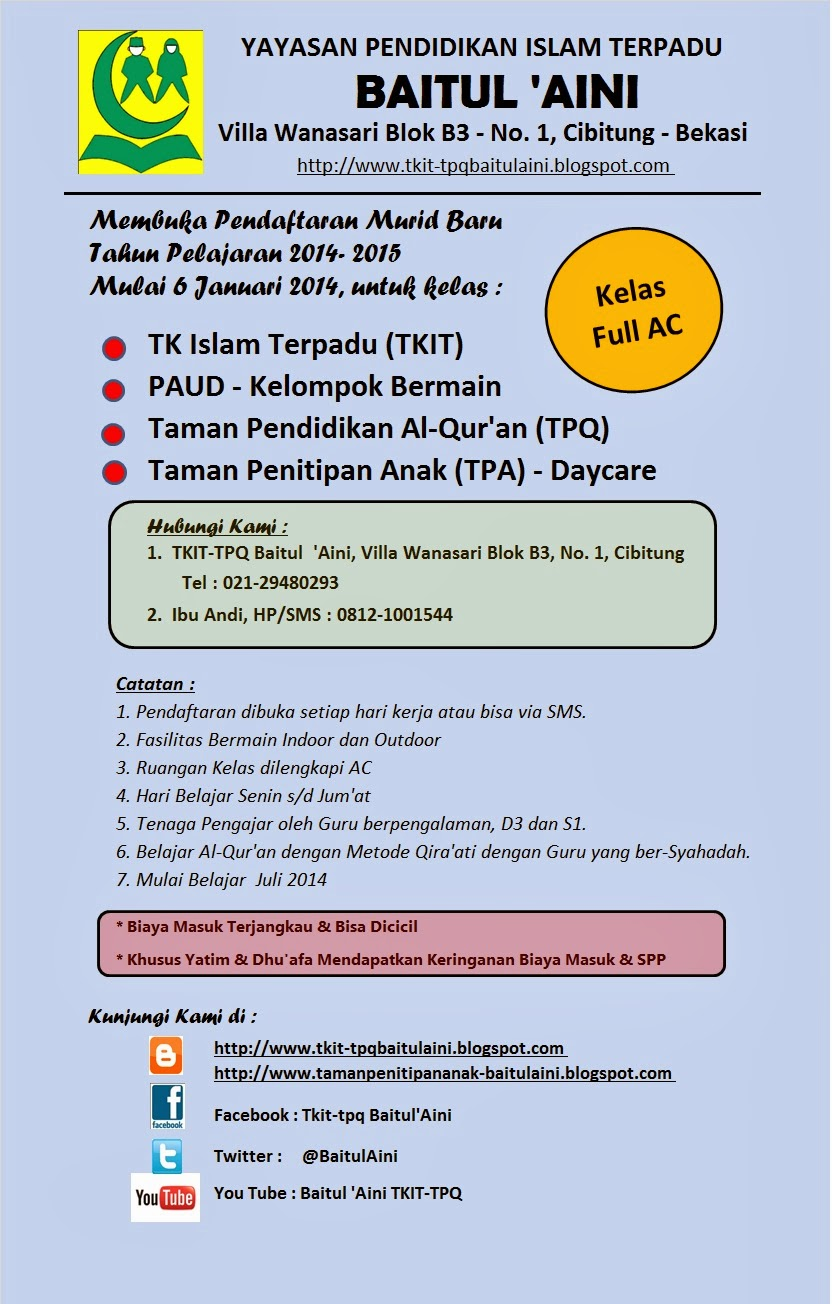 ... Penerimaan Murid Siswa Baru (PMB) / (PSB) Tahun Pelajaran 2014 - 2015