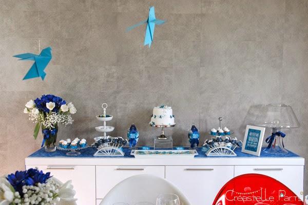 Créastelle Party sweet table colombe origami vue de face