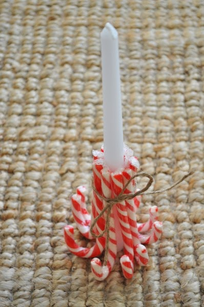 idée bougie diy Noël candy cane