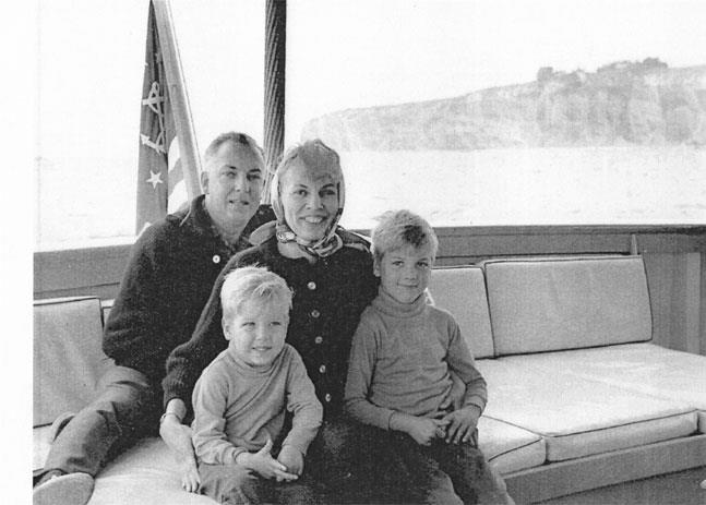 "... Blair and Brent pose with their parents on John Wayne's yacht, ""The Wild ..."