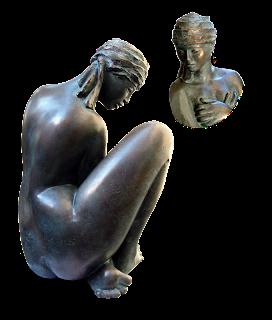Statue, art figuratif, femme nue, assise