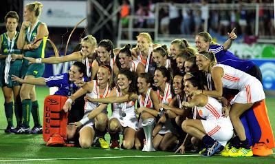 Netherlands, Australia, Dutch, Players, Celebrate, Winner, Hockey, World, League, Women, Final, 2013, Tucuman, Argentina, Maria Verschoor, Jodie Schulz, Sports,