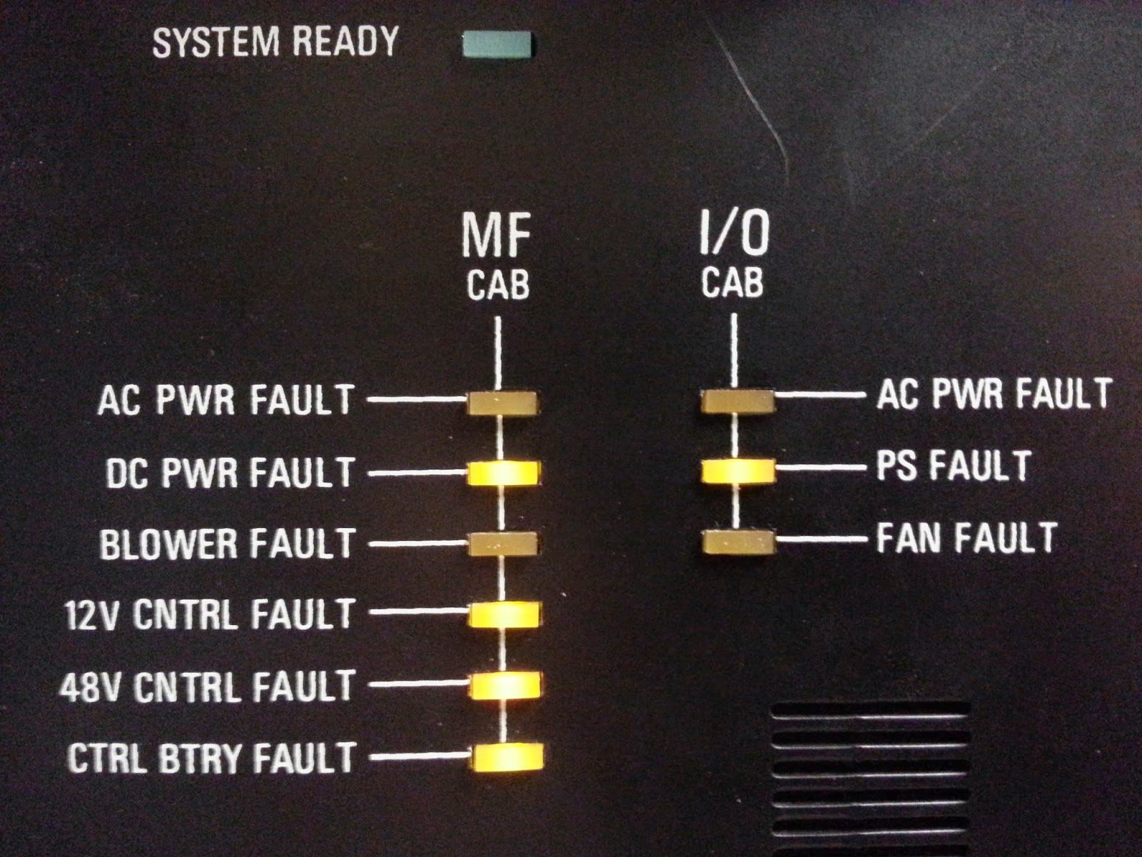 Fault lights on the CCU
