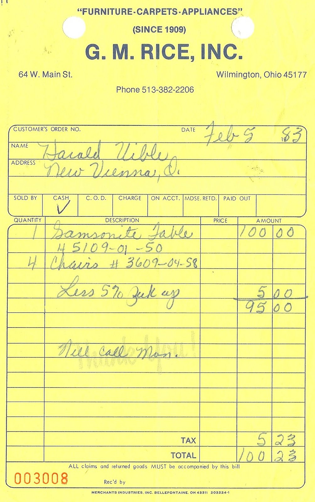 uibles a family blog 1983 furniture invoice feb 5