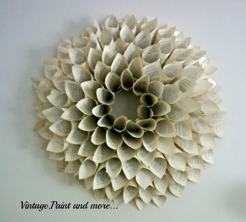 Paper Book wreath tutorial