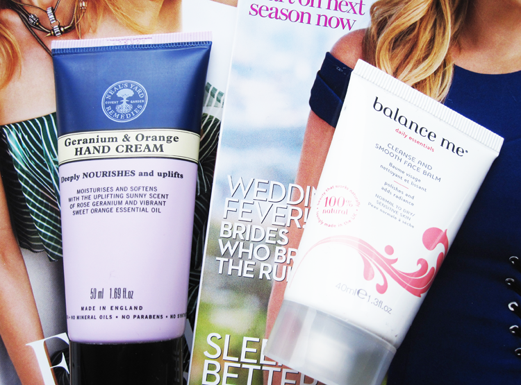 A picture of UK magazine freebies july 2014 with balance me and neal's yard remedie