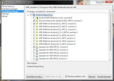 Imagen de la instalación del sdk de Android en Eclipse Indigo