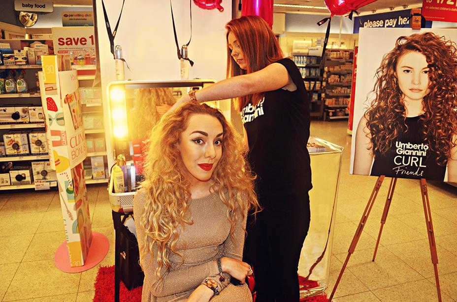 Umberto Giannini Curl Friends Pop Up Event, Stephi LaReine, UK Fashion Blogger, Bloglovin, Curly hair, blonde, topshop dress, boots liverpool, clayton square