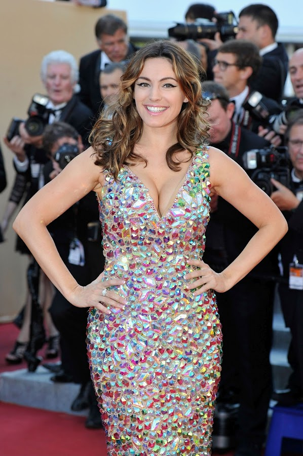 Kelly Brook wearing a multicolored crystal dress at Killing Them Softly premiere