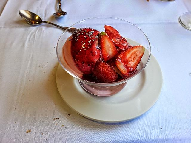 Icecream with Strawberries on top