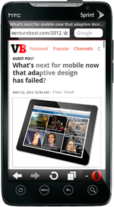 The Venture Beat article as viewed through a mobile browser.