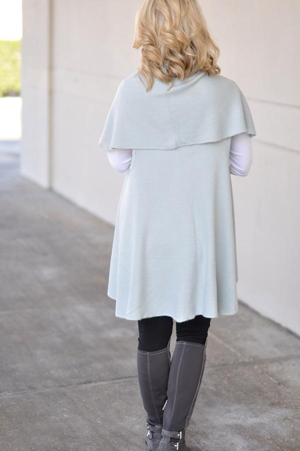 Winter fashion | ModCloth soft blue vest cardigan