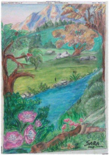 paisaje realizado con ceras blandas