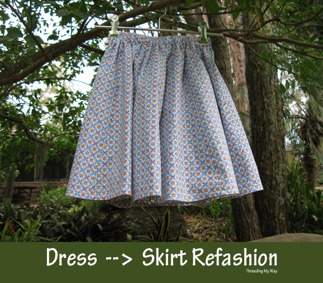 Dress to Skirt Refashion... a quick and easy make that takes less than half an hour ~ Threading My Way