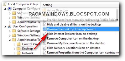 Remove Desktop Cleanup wizard