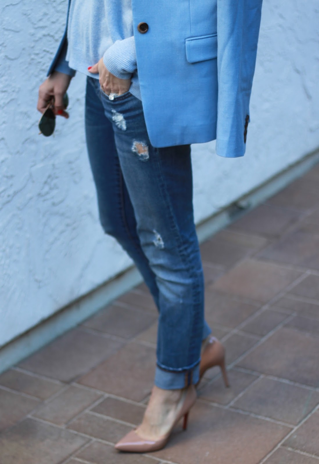distressed denim and nude heels