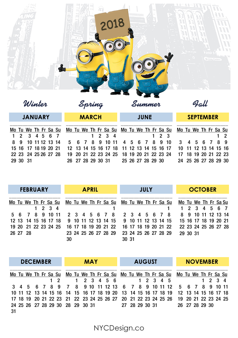 New York Web Design Studio, New York, NY: Minions Calendar 2018 ...