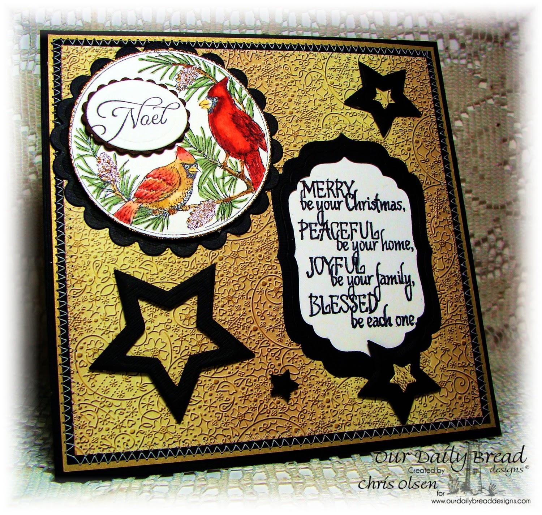 Our Daily Bread Designs, Cardinal Ornament, His Birth, Sparkling Star Dies, Circle Ornaments dies, designer-Chris Olsen