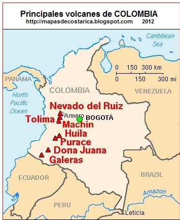 Principales volcanes de COLOMBIA