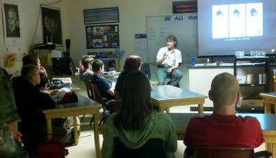 John talks with high school students in Billings, Montana (photo by Tracy Schiess)
