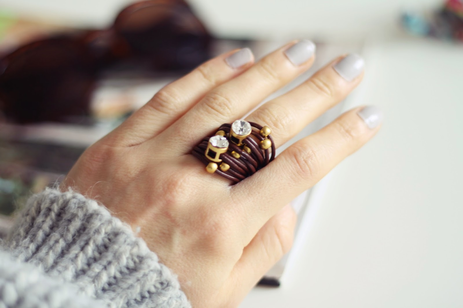unique leather ring