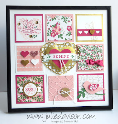 "Stampin' Up! Bloomin' Love Valentine 8"" x 8"" Sampler Framed Art Home Decor #valentine #stampinup www.juliedavison.com"