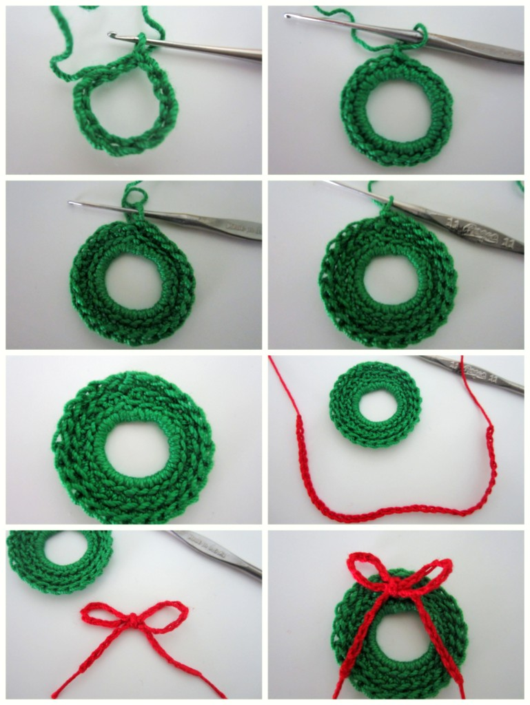 Free Crochet Pattern For Christmas Wreath : Lacy Crochet: Mini Christmas Wreath Free Pattern