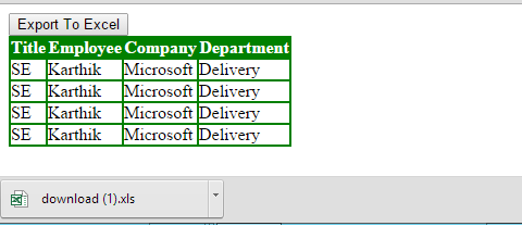 html to excel jquery