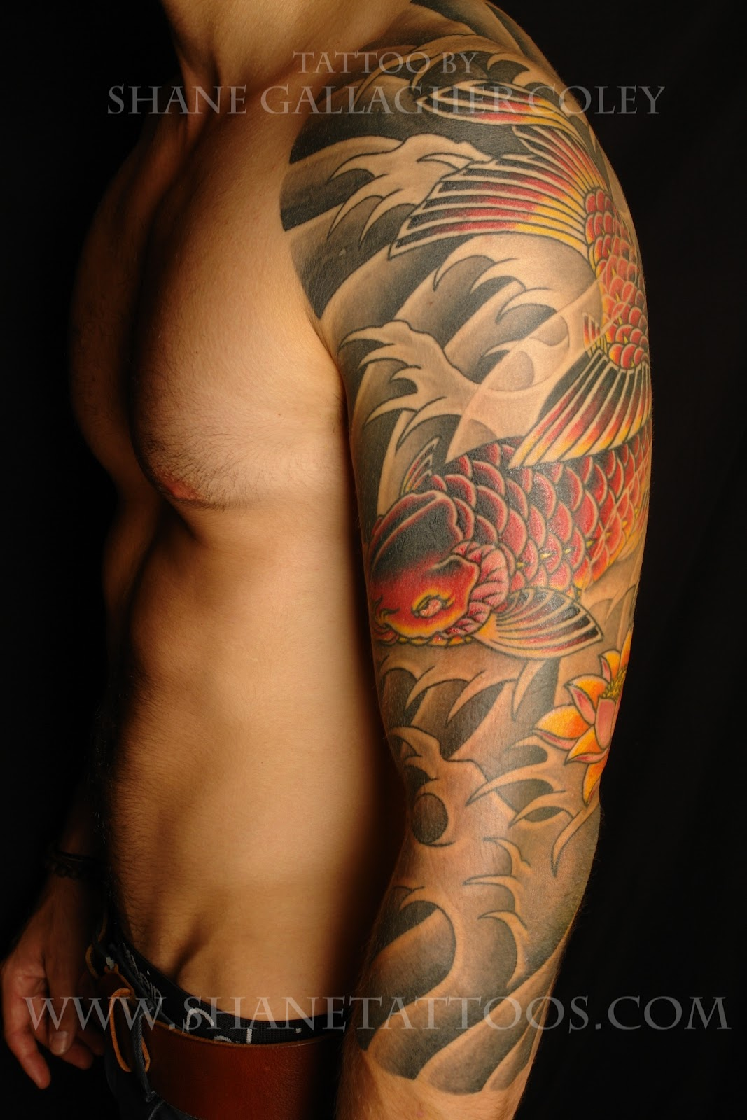 shane tattoos japanese koi 3 4 sleeve tattoo on shaydon. Black Bedroom Furniture Sets. Home Design Ideas