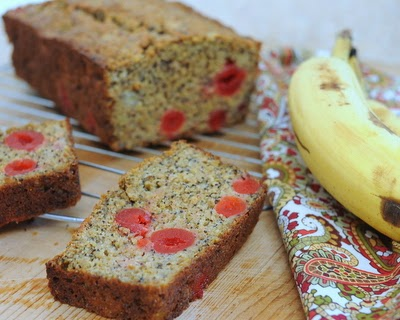 My forever-and-forever recipe for banana bread, very banana-y, mostly sweetened with very ripe bananas, half healthful with whole-wheat flour and nutty wheat germ. What really makes this banana bread special? Poppy seeds and those bright-red cheery cherries! For Weight Watchers, #PP5. #KitchenParade