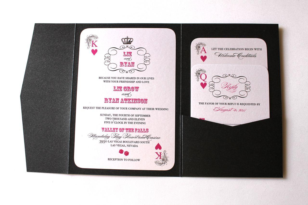 Viva Las Vegas Hot Pink Wedding Invites - Embellished Paperie LLC