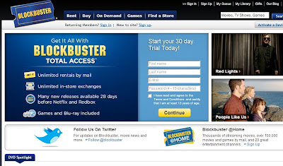 Blockbuster homepage