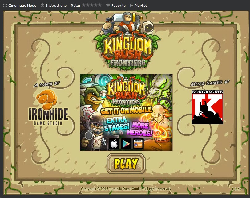 Kingdom Rush Frontiers menu
