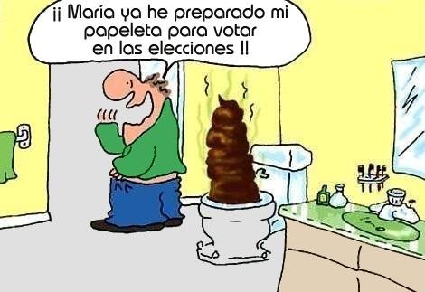 humor grafico preparando la papeleta para votar