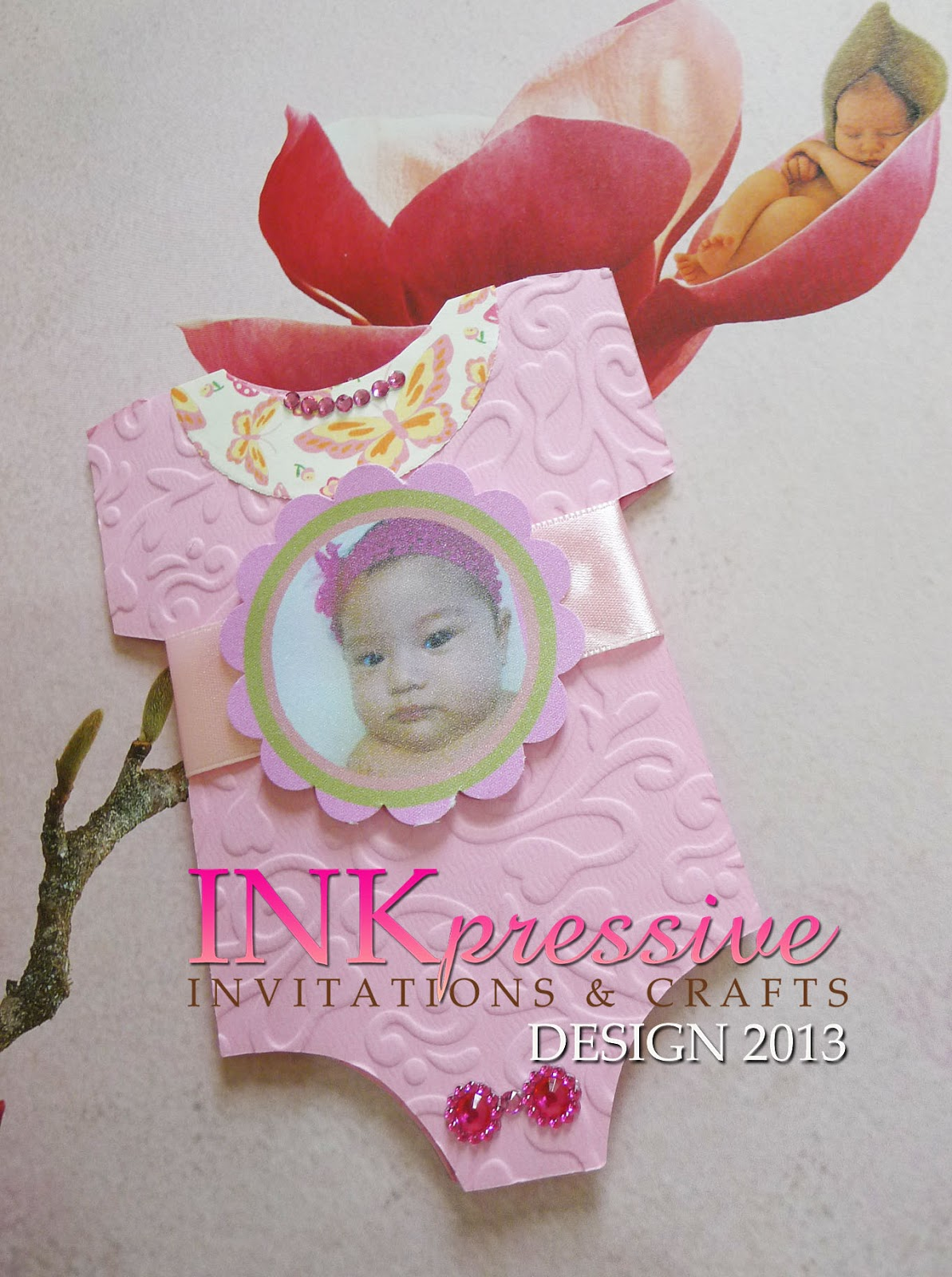 Pink baby onesie baptism invitation inkpressive invitations pink baby onesie baptism invitation stopboris Image collections