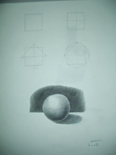 วาดรูปทรงกลม แรเงาให้ดูเป็นรูป 3 มิติ มีเงาตกทอด